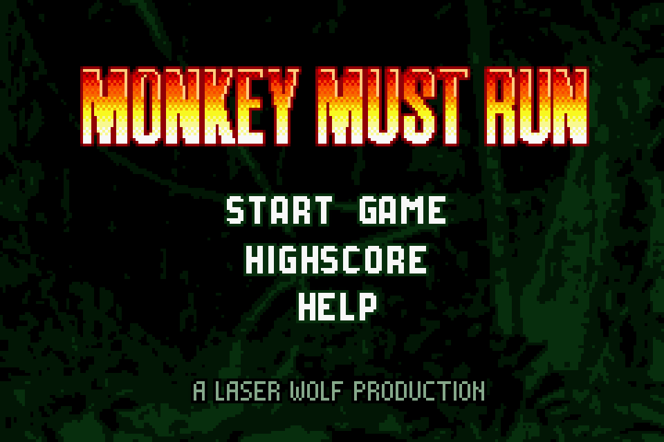 Monkey Must Run - Intro Screen